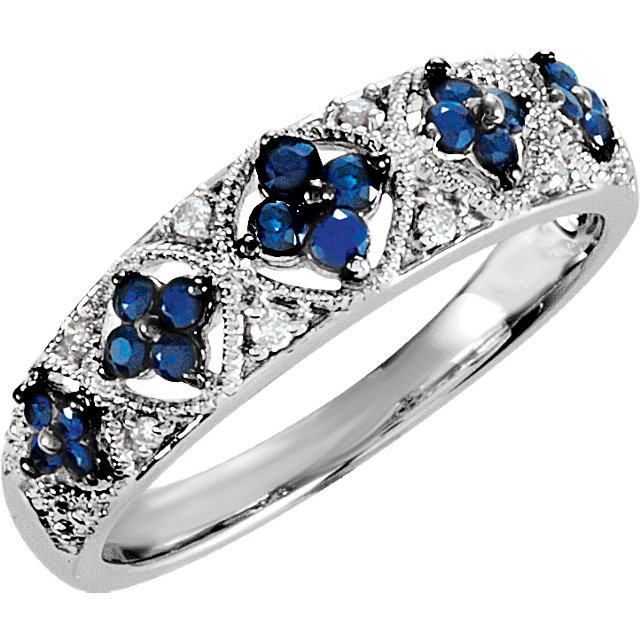 Great Buy in Sterling Silver Sapphire & .05 Carat Total Weight Diamond Ring Size 7