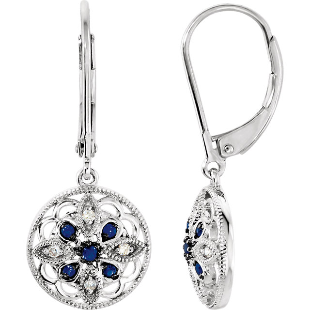 Perfect Jewelry Gift Sterling Silver Sapphire & .07 Carat Total Weight Diamond Earrings