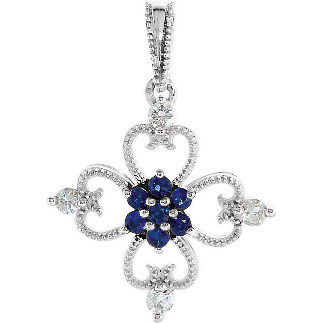 Appealing Jewelry in Sterling Silver Sapphire & 0.10 Carat Total Weight Diamond Pendant