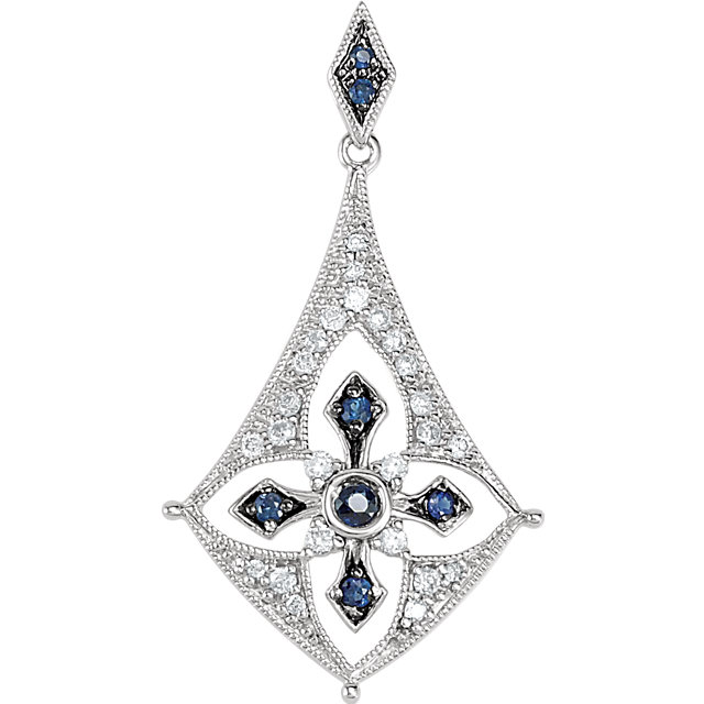 Appealing Jewelry in Sterling Silver Blue Sapphire & 0.17 Carat Total Weight Diamond Pendant