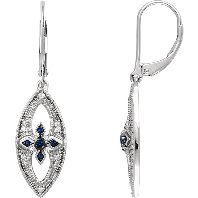 Genuine  Sterling Silver Sapphire & 0.17 Carat TW Diamond Lever Back Earrings