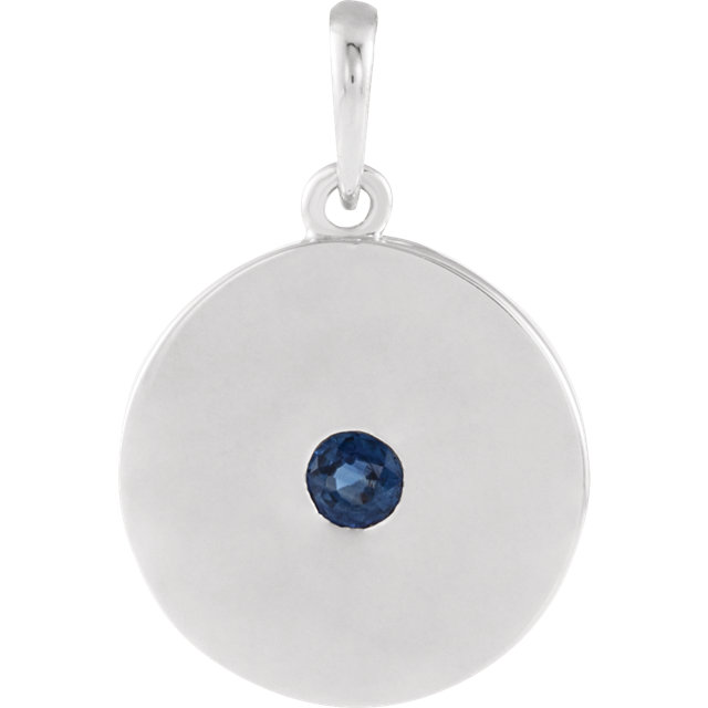Very Nice Sterling Silver Sapphire Disc Pendant