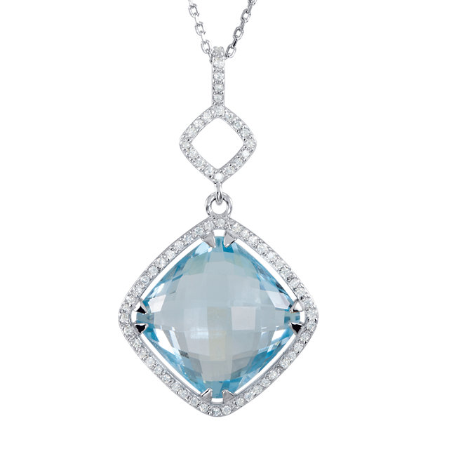 Contemporary Sterling Silver Sky Blue Topaz & 0.33 Carat Total Weight Diamond 18