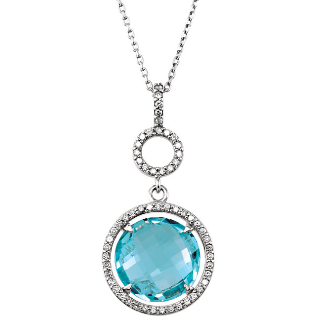 Great Deal in Sterling Silver Sky Blue Topaz & 0.25 Carat Total Weight Diamond 18