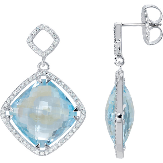 Wonderful Sterling Silver Sky Blue Topaz & 0.60 Carat Total Weight Diamond Earrings