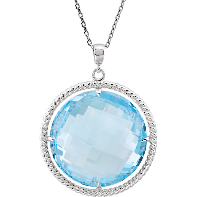 Perfect Jewelry Gift Sterling Silver Sky Blue Topaz Rope 18