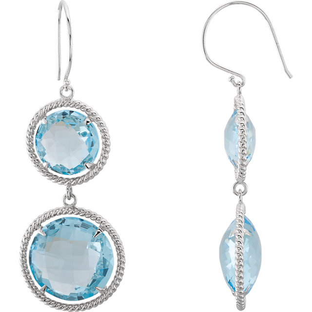 Appealing Jewelry in Sterling Silver Sky Blue Topaz Rope Design Earrings