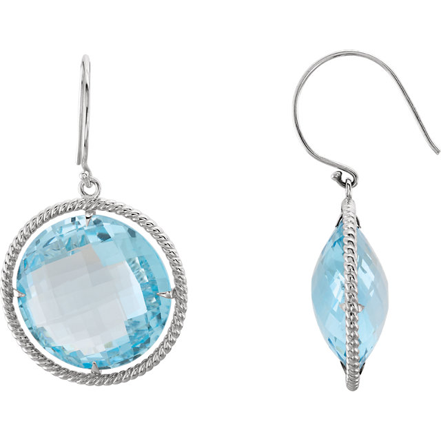 Surprise Her with  Sterling Silver Sky Blue Topaz Rope Design Earrings