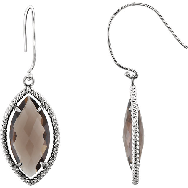 Great Gift in Sterling Silver Smoky Quartz Rope Design Earrings
