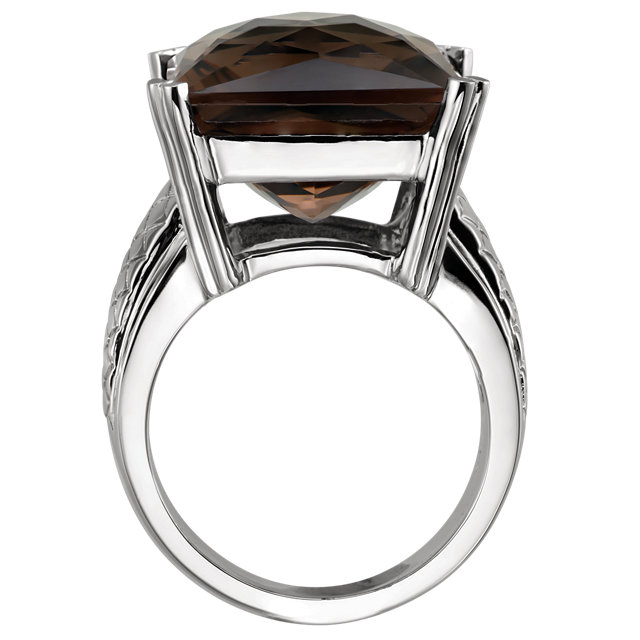 Sterling Silver Smoky Quartz Weave Design Ring