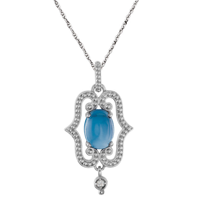 Fine Quality Sterling Silver Swiss Blue Topaz & .02 Carat Total Weight Diamond 18