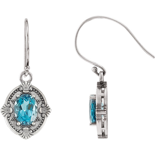 Perfect Gift Idea in Sterling Silver Swiss Blue Topaz Earrings