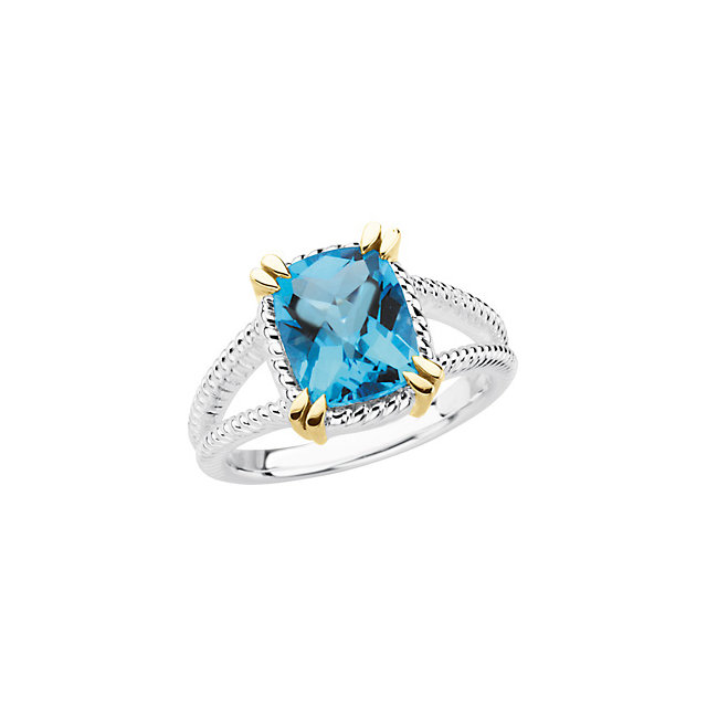 Contemporary Sterling Silver Swiss Blue Topaz Ring