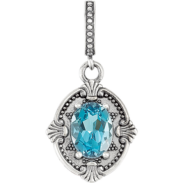 Wonderful Sterling Silver Swiss Blue Topaz ViCaratorian Style Pendant