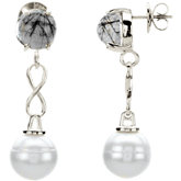 Sterling Silver Tourmalinated Quartz & Freshwater Cultured Pearl Earrings