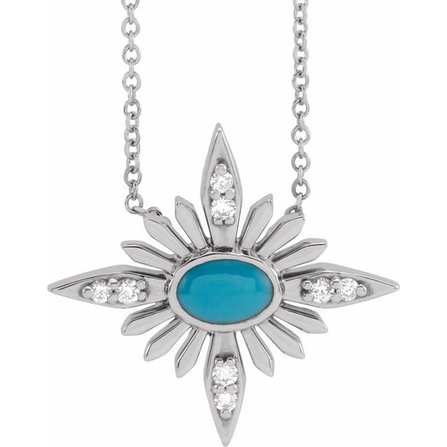 Genuine Turquoise Necklace in Sterling Silver Turquoise & .08 Carat Diamond Celestial 16-18