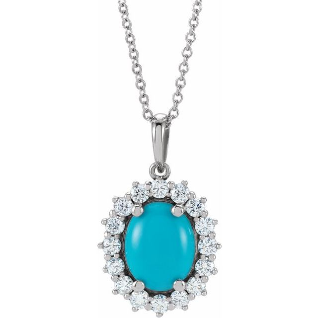 Genuine Turquoise Necklace in Sterling Silver Turquoise & 1/2 Carat Diamond Halo-Style 16-18