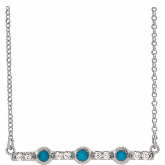 Genuine Turquoise Necklace in Sterling Silver Turquoise & 1/8 Carat Diamond Bar 16