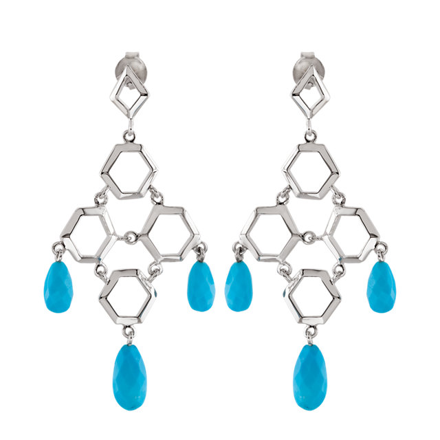 Sterling Silver Turquoise Chandelier Earrings with Box