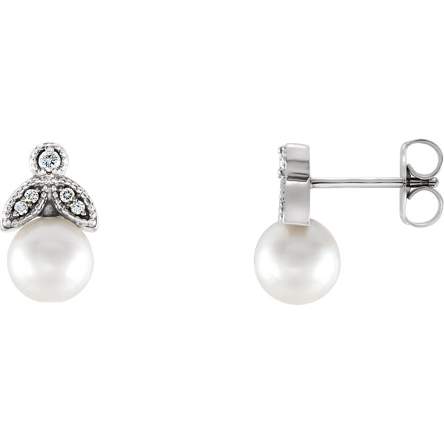 Great Gift in Sterling Silver Freshwater Pearl & .07 Carat Total Weight Diamond Earrings