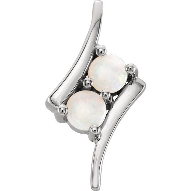 Fantastic Sterling Silver White Round Genuine Opal Two-Stone Pendant