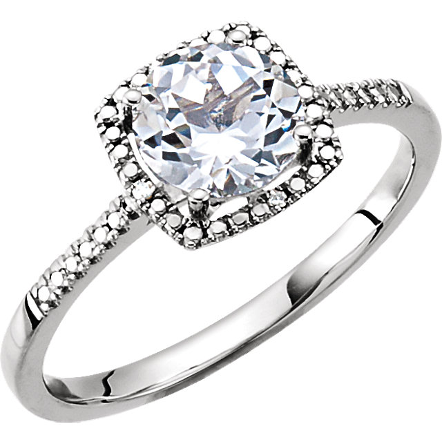 Sterling Silver White Sapphire & .01 CTW Diamond Ring