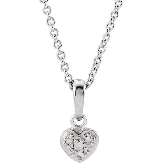 Sterling Silver White Sapphire Heart 14-16