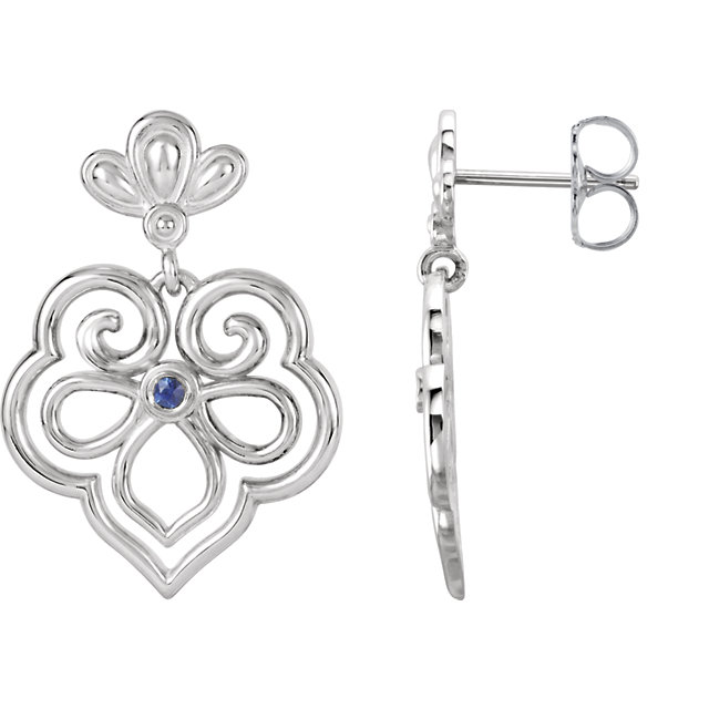 Surprise Her with  Sterling Silver & 14 Karat White Gold Blue Sapphire Earrings