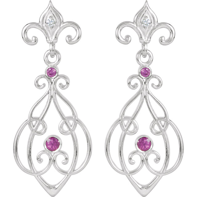 Genuine Sterling Silver with 14 Karat White Gold Post Ruby & .025 Carat Diamond Earrings