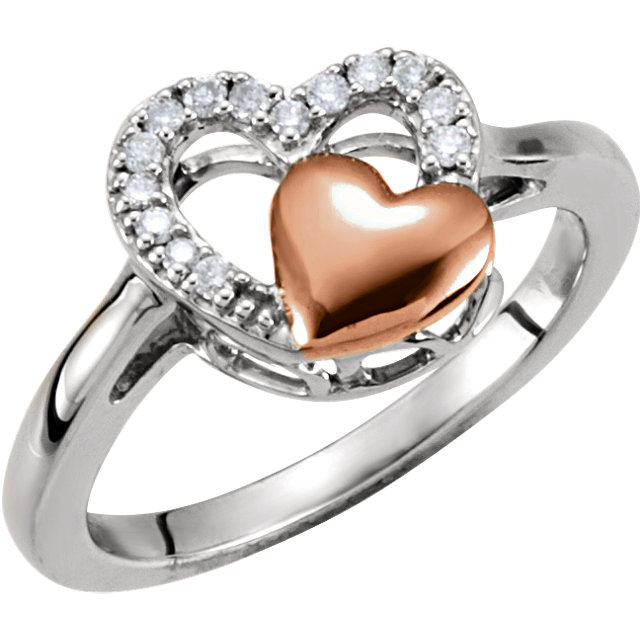 Sterling Silver with Rose Plating 1/10 Carat TW Diamond Double Heart Design Ring Size 6