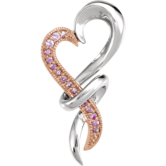 Beautiful Sterling Silver with Rose Rhodium-Plating Pink Sapphire Heart Pendant