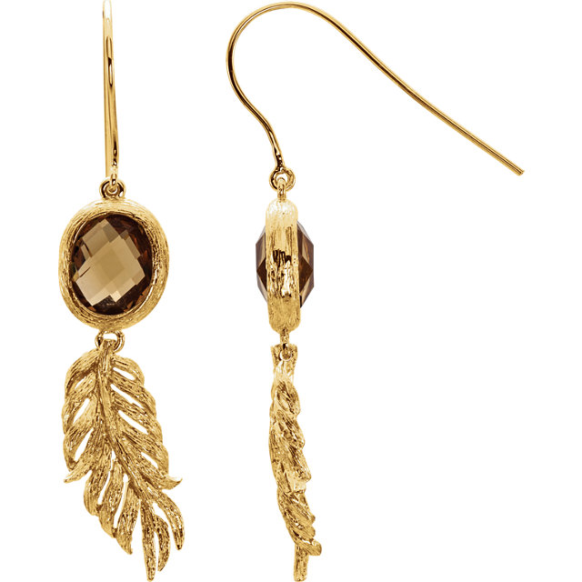 Sterling Silver Yellow Gold Plated Checkerboard Honey Quartz Leaf Earrings