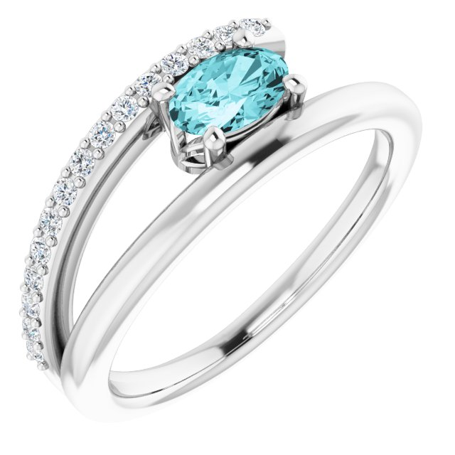 Genuine Zircon Ring in Sterling Silver Zircon & 1/8 Carat Diamond Ring