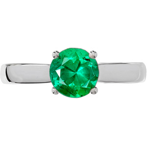 Streamlined & Chic 4-Prong Round Solitaire Genuine Fine GEM 1 carat 6mm Emerald Engagement Ring - Diamond Accents at Base of Prongs