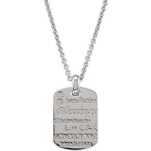 Striking .01ct Diamond Accented Sterling Silver Dog-Tag Style Pendant with Engravings of