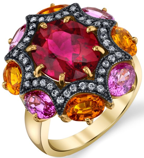 Striking 6.23ct Oval Tourmaline Gemstone Ring With Unique Diamond Accented Curved Star Feature - Orange & Pink Sapphire Accents