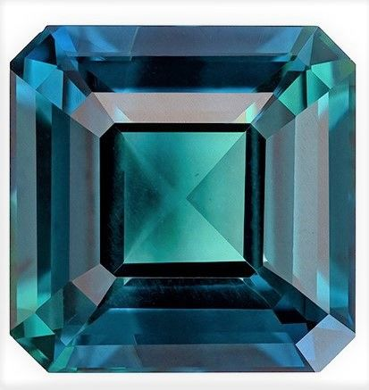 Striking Blue Green Sapphire Asscher Shaped Gemstone, 4.08 carats, 8.6 x 8.6mm - Super Great Buy