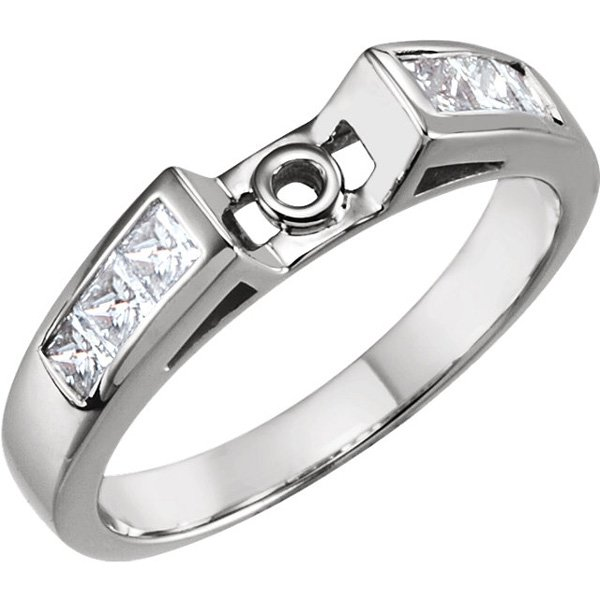 Striking Cathedral Style Preset Ring Base With Channel Set Princess Cut Diamond Accents 5/8ctw