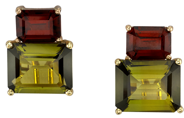 Striking Emerald Cut Olive Green Tourmaline & Red Garnet Earrings - 18kt Yellow & Rose Gold