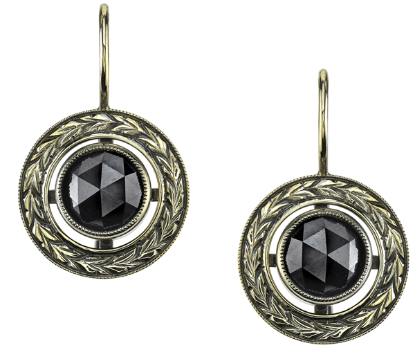 Striking Handmade 3.56ctw Round Rose Cut Black Diamond Earrings in 18kt Yellow Gold