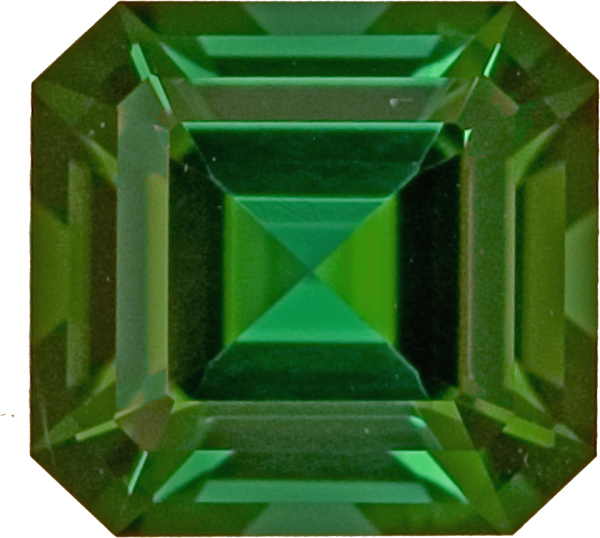 Striking Octagon Bold Green Colored Tourmaline Gemstone, 7.8mm, 2.24 carats