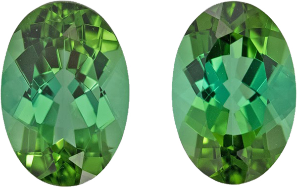 Striking Oval Tourmaline Pair in Blue Green Color, German Cut in 9.5 x 6.5 mm, 3.63 carats - SOLD
