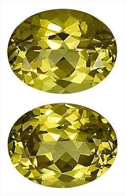 Striking Pair of Gorgeous Unheated Yellow Grossular Garnet Gemstones for SALE, Oval Cut, 9 x 7 mm, 4.74 carats