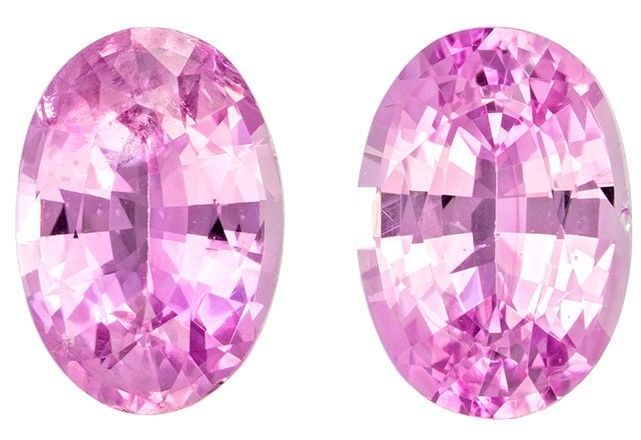 Striking Pair of Pink Sapphire Oval Shaped Gemstone, 0.68 carats, 6.4 x 4.4mm - Truly Stunning