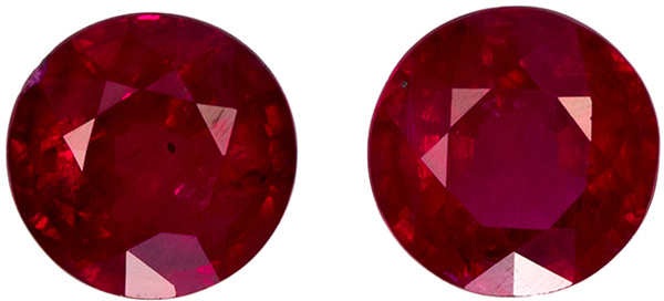 Striking Red Ruby from Africa in Well Matched Pair in Round Cut, 4.4 mm, 0.92 Carats
