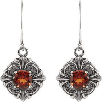 Striking Sterling Silver Wire Back Earrings With 6mm 1.48ct Madeira Citrine Center Gemstone