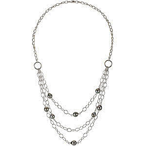 Striking Three Strand Sterling Silver Fashion Necklace with 8 Black Tahitian Cultured Pearls - SOLD