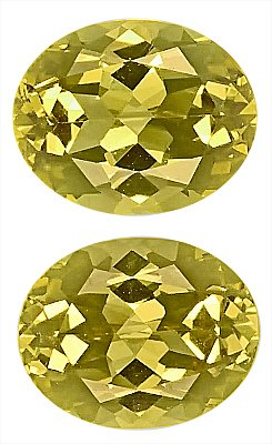 Striking, Well-matched Pair of Yellow Grossular Garnet Natural Unheated Gemstones, Oval Cut, 10 x 8 mm, 6.51 carats