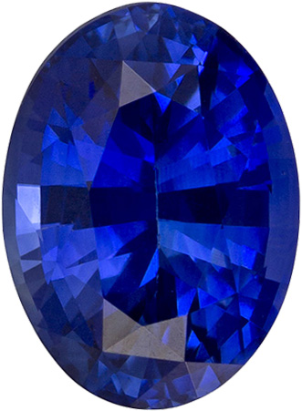 Strong Blue Ceylon Loose Sapphire Gemstone in Oval Cut, 6.9 x 5.1 mm, 0.99 Carats