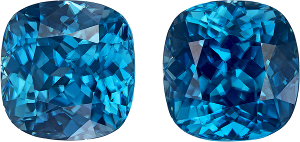 Strong Teal Blue Zircons from Cambodia in Well Matched Pair in Antique Square Cut, 9.7 x 9.4 mm, 13.43 Carats